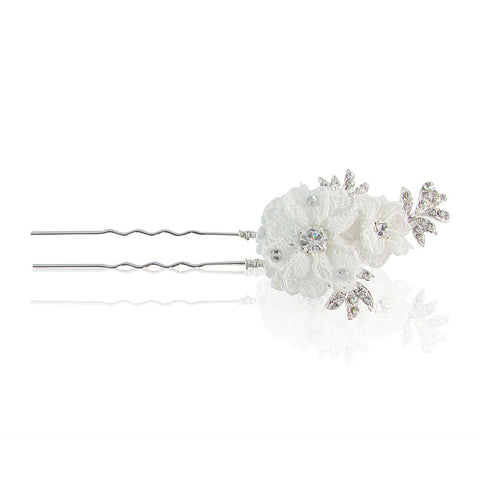 Kaylee Crystal & Lace Hair Pin - Bella Krystal