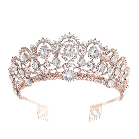 Demi Rose Gold & Crystal Baroque Tiara with Comb