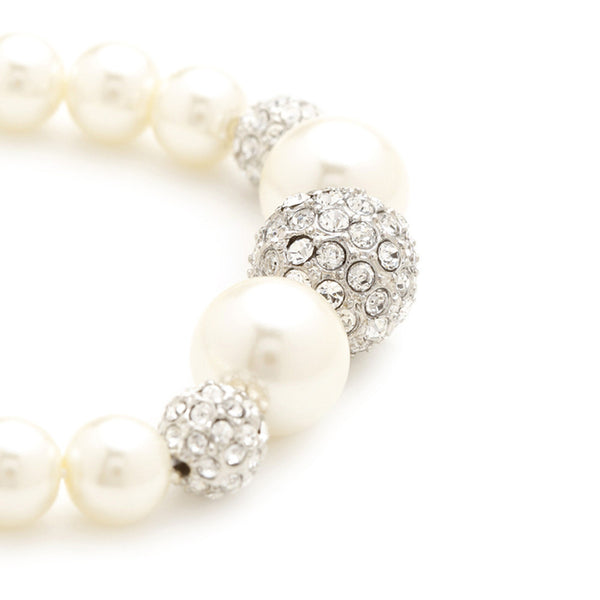 Gianna Cream Pearl & Crystal Ball Bracelet - Bella Krystal