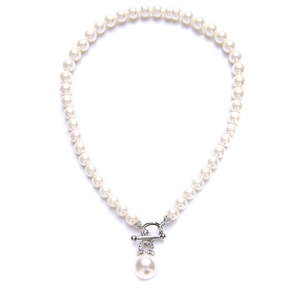 Kathryn Crystal & Glass Pearl Toggle Necklace - Bella Krystal