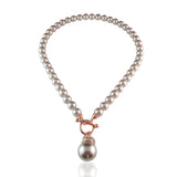Kathryn Crystal & Glass Pearl Toggle Rose Gold Necklace - Bella Krystal
