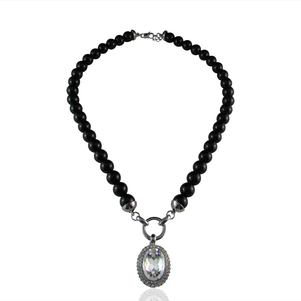 Ayleen Onyx Glass Pearl & Crystal Pendant Necklace