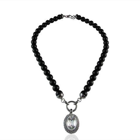 Ayleen Onyx Glass Pearl & Crystal Pendant Necklace - Bella Krystal
