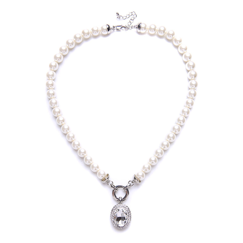 Ayleen Cream Glass Pearl & Crystal Pendant Necklace - Bella Krystal