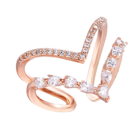 Helene Twin Band Adjustable Crystal Ring