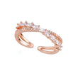 Sansa Twin Band Adjustable Crystal Ring