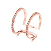 Noorani Twin Band Adjustable Fine Crystal Ring in Rose Gold