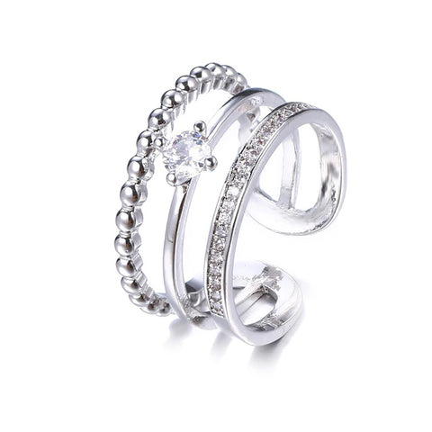 Emily Tri Band Adjustable Crystal Ring