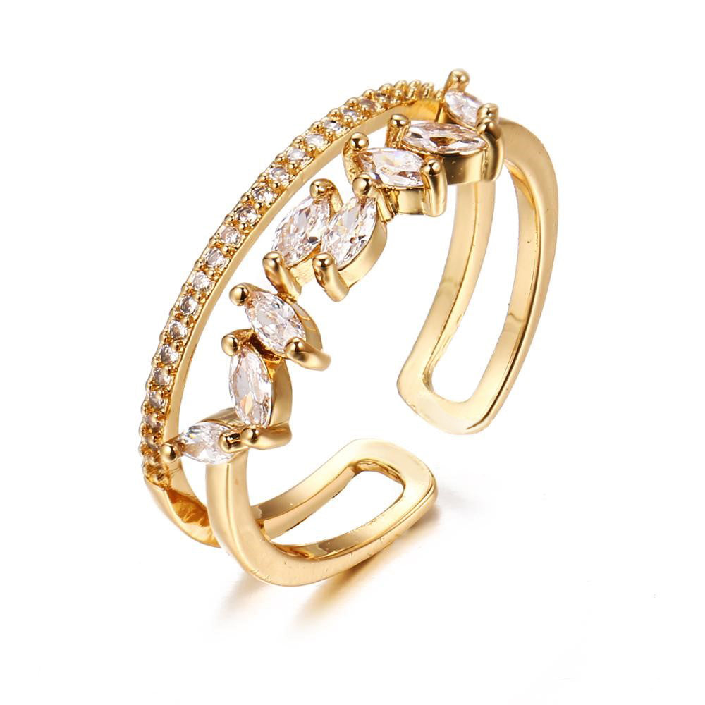 Estelle Twin Band Adjustable Crystal Ring