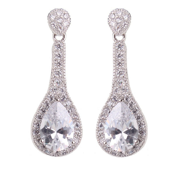 Daisy Clear Crystal Drop Earrings - Bella Krystal