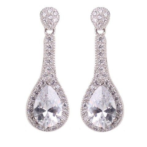 Daisy Clear Swarovski Drop Earrings - Bella Krystal