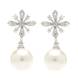 Eliana Snowflake Pearl Drop Earrings - Bella Krystal