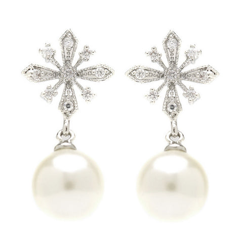 Eliana Snowflake Pearl Drop Earrings
