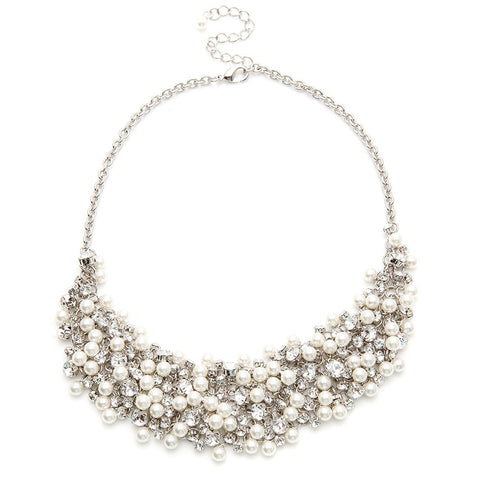 Addison Crystal & Pearl Cluster Necklace - Bella Krystal