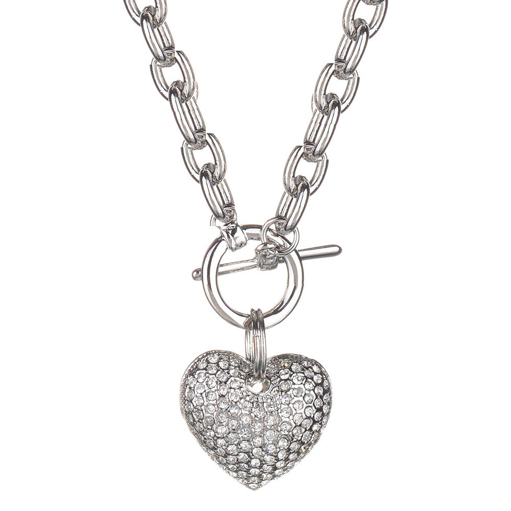 Jillian Crystal Heart Toggle Necklace - Bella Krystal