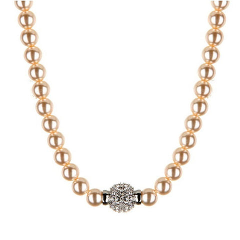 Ella Glass Pearl Necklace with Crystal Ball - Bella Krystal