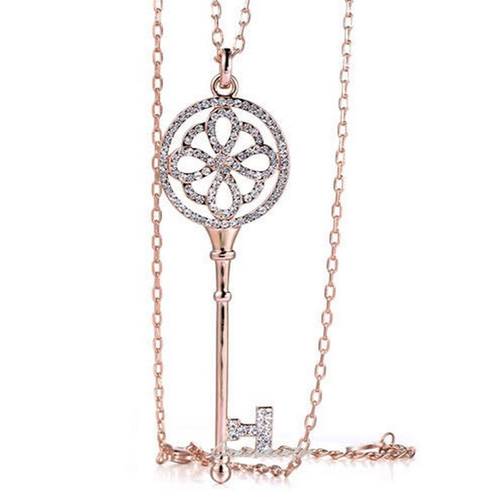 Brielle Crystal Key Long Necklace - Bella Krystal