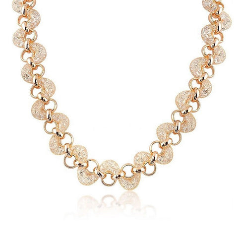 Teigan Crystal Filled Mesh Gold Necklace - Bella Krystal