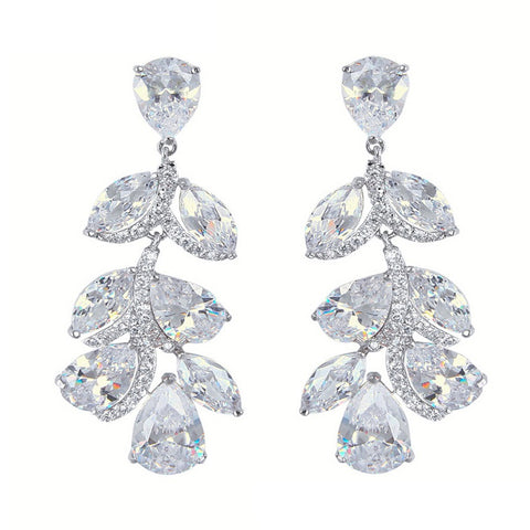 Hope Swarovski Leaf Elegant Earrings - Bella Krystal