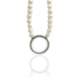 Arya Glass Pearl & Crystal Infinity Hoop Pendant Necklace - Bella Krystal