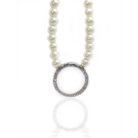 Arya Glass Pearl & Crystal Infinity Hoop Pendant Necklace