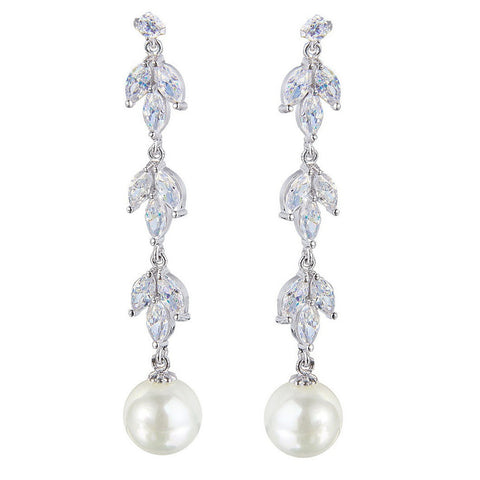 Hadley Pearl Drop Leaf Earrings - Bella Krystal