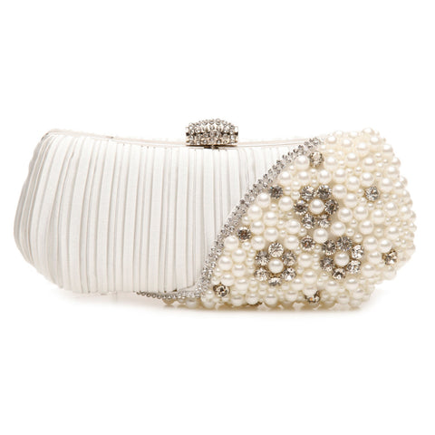 Satin Clutch with Pearl & Crystal Corner - Bella Krystal