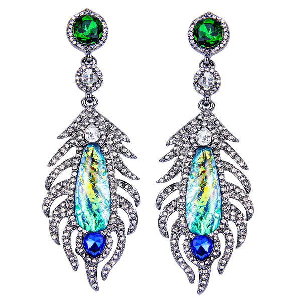 Harmony Crystal Peacock Earrings - Bella Krystal