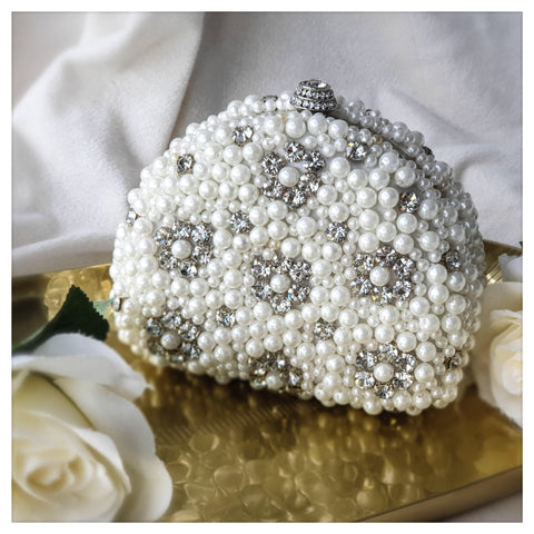Floral Crystal and Pearl Clutch - Bella Krystal