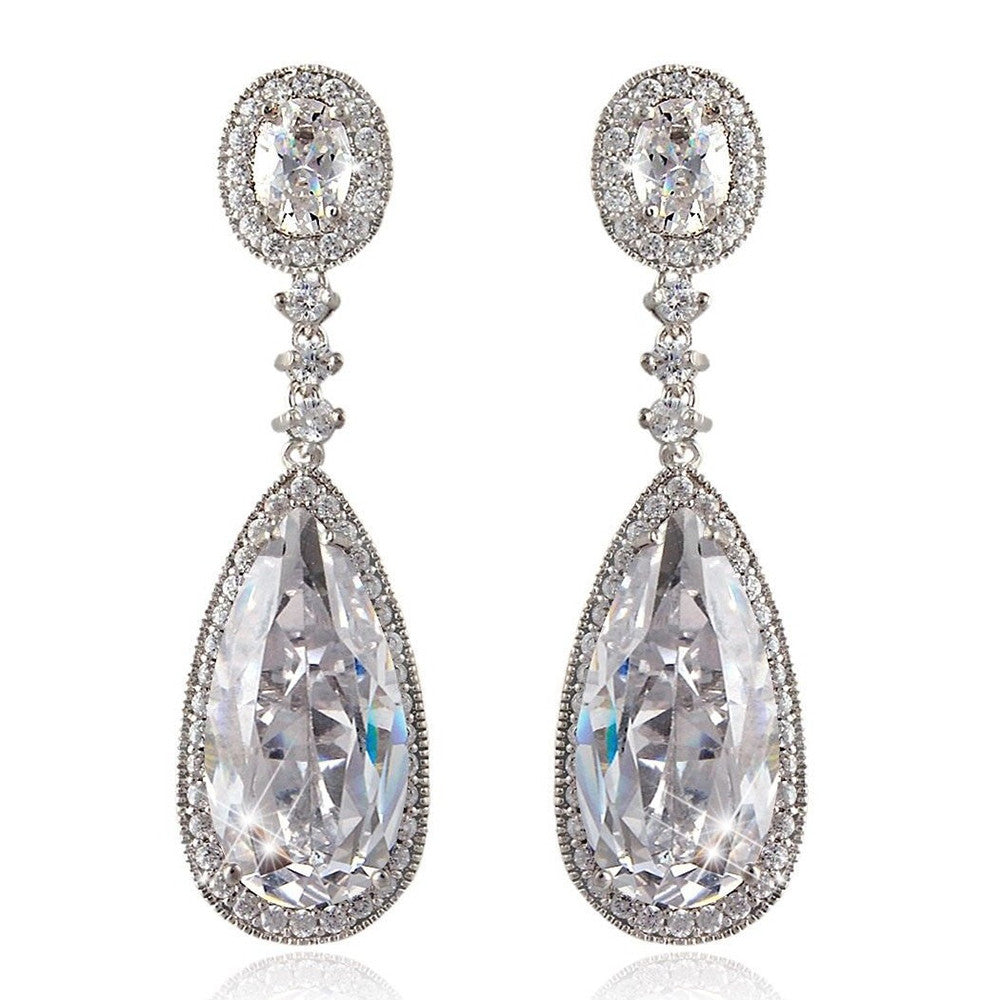 Izabella Elegant Tear Drop Crystal Earrings - Bella Krystal