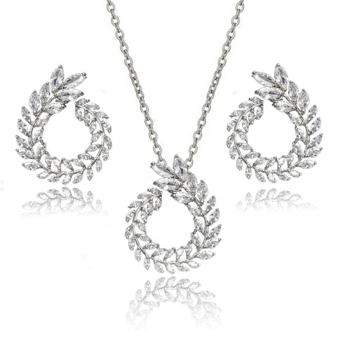 Audrina Crystal Leaf Circlet Earrings & Necklace Set in Platinum