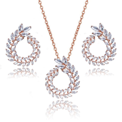 Audrina Crystal Leaf Circlet Earrings & Necklace Set in Rose Gold
