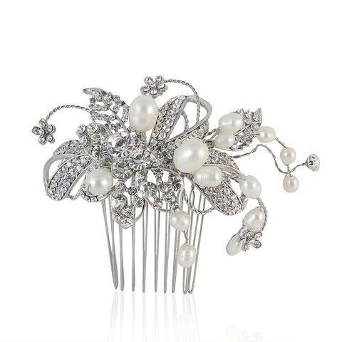 Makenna Fresh Water Pearl & Crystal Comb