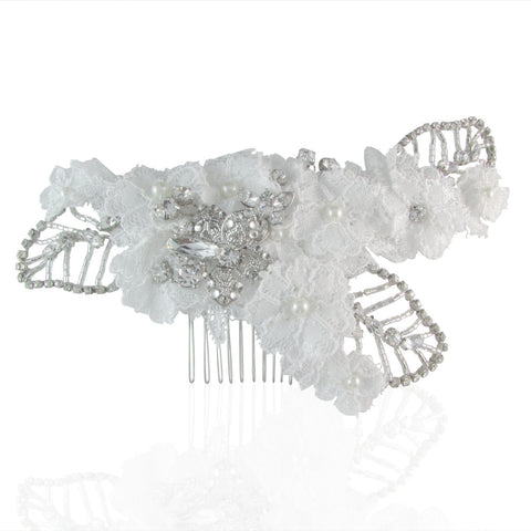 Ellen Lace & Crystal Leaf Hair Comb - Bella Krystal