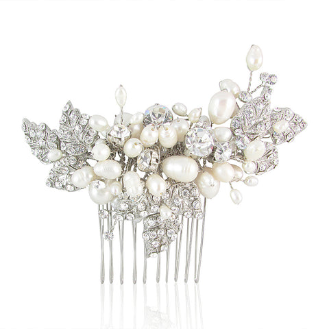 Evelyn Fresh Water Pearl & Crystal Cluster Hair Comb - Bella Krystal