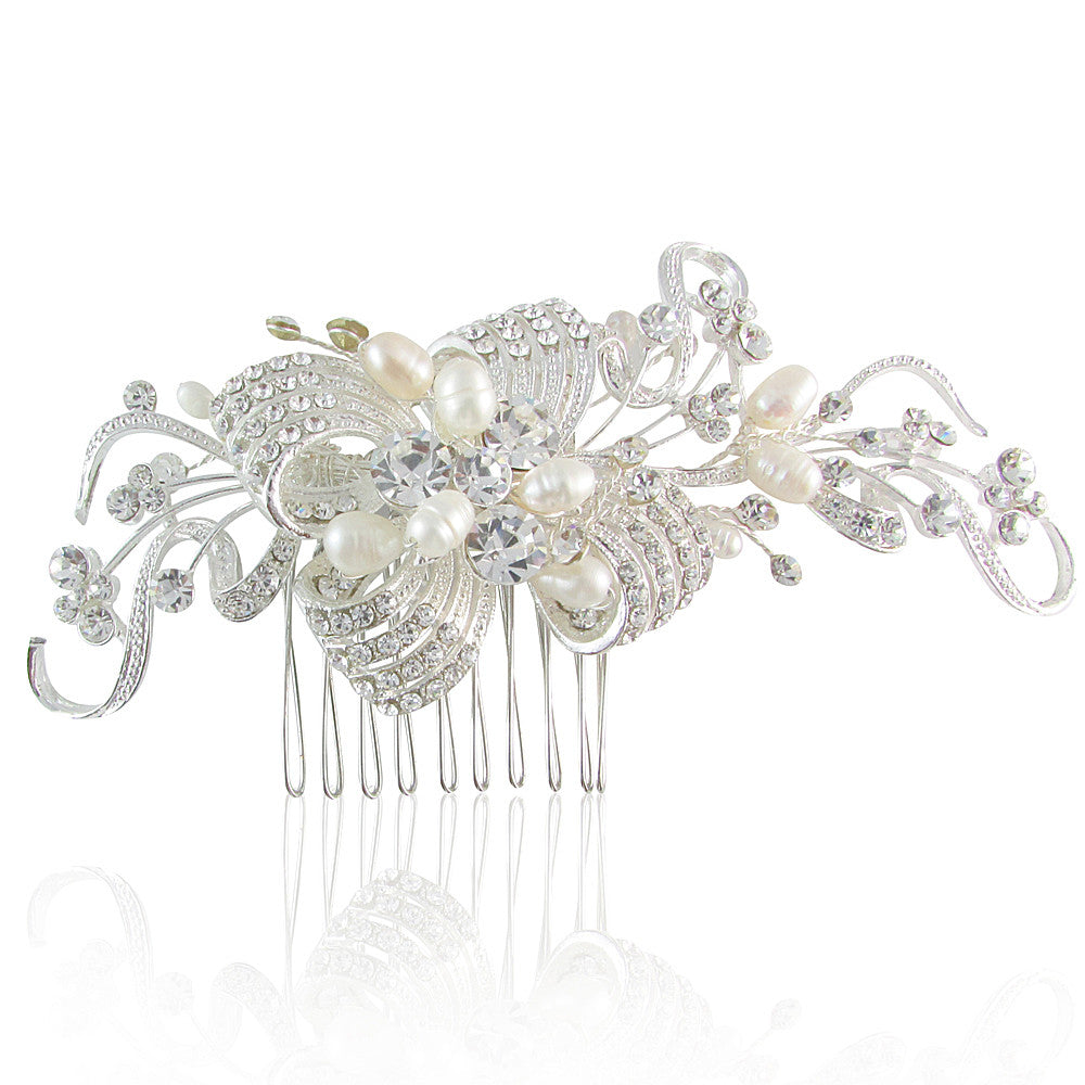 Margaret Crystal Bow & Fresh Water Pearl Hair Comb - Bella Krystal
