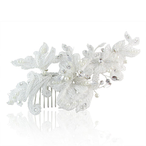 Amelia Lace & Crystal Hair Comb - Bella Krystal