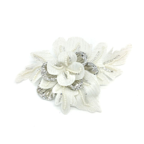 Serah Elegant Pearl & Crystal Leaf Hair Piece