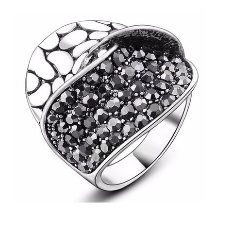 Black Crystal Dress Ring - Bella Krystal