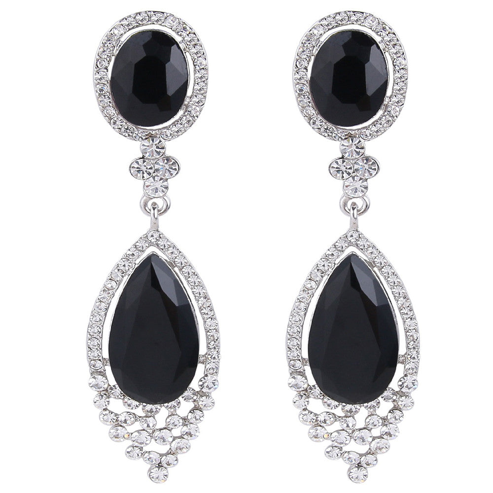 Amanda Onyx Swarovski Elegant Drop Earrings - Bella Krystal