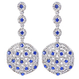 Nadia Blue Crystal Round Drop Earrings - Bella Krystal