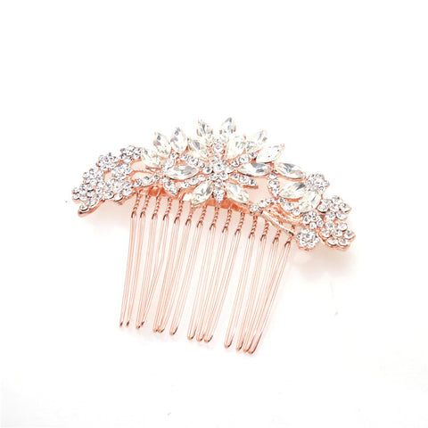 Paola Rose Gold Crystal Hair Comb