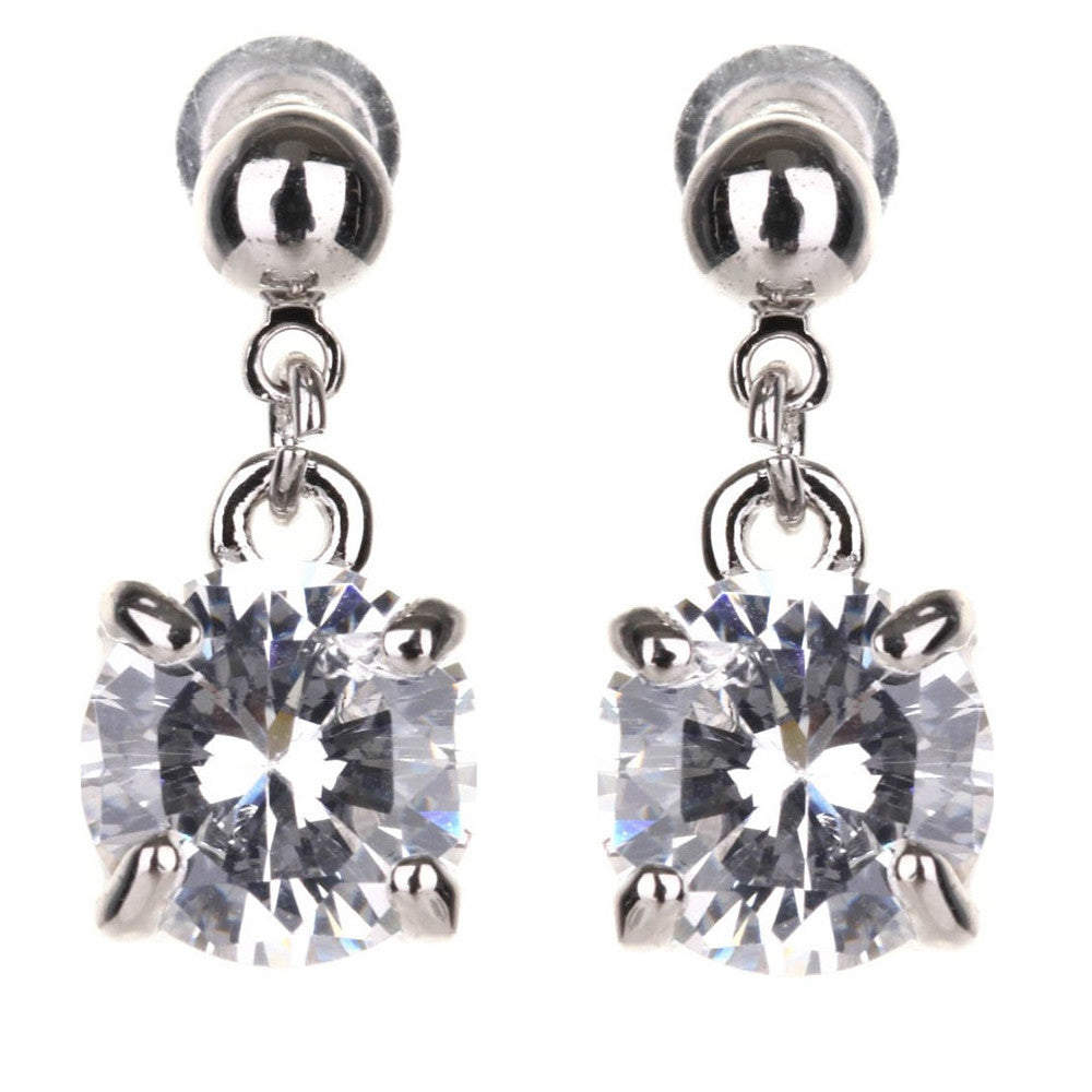 Jasmine Classic Solitaire Crystal Drop Earrings - Bella Krystal