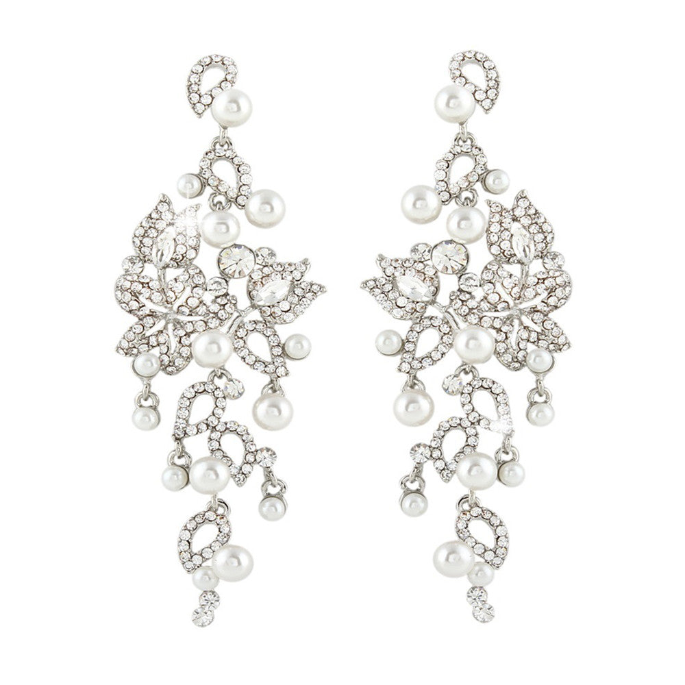 Presley Pearl & Crystal Garden Earrings - Bella Krystal