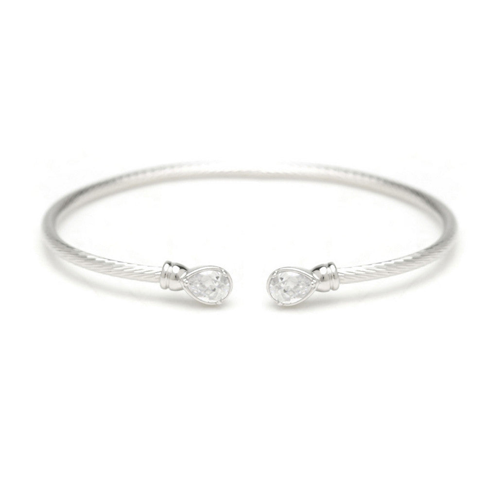 Katie Swarovski Tear Drop Ended Bangle - Bella Krystal