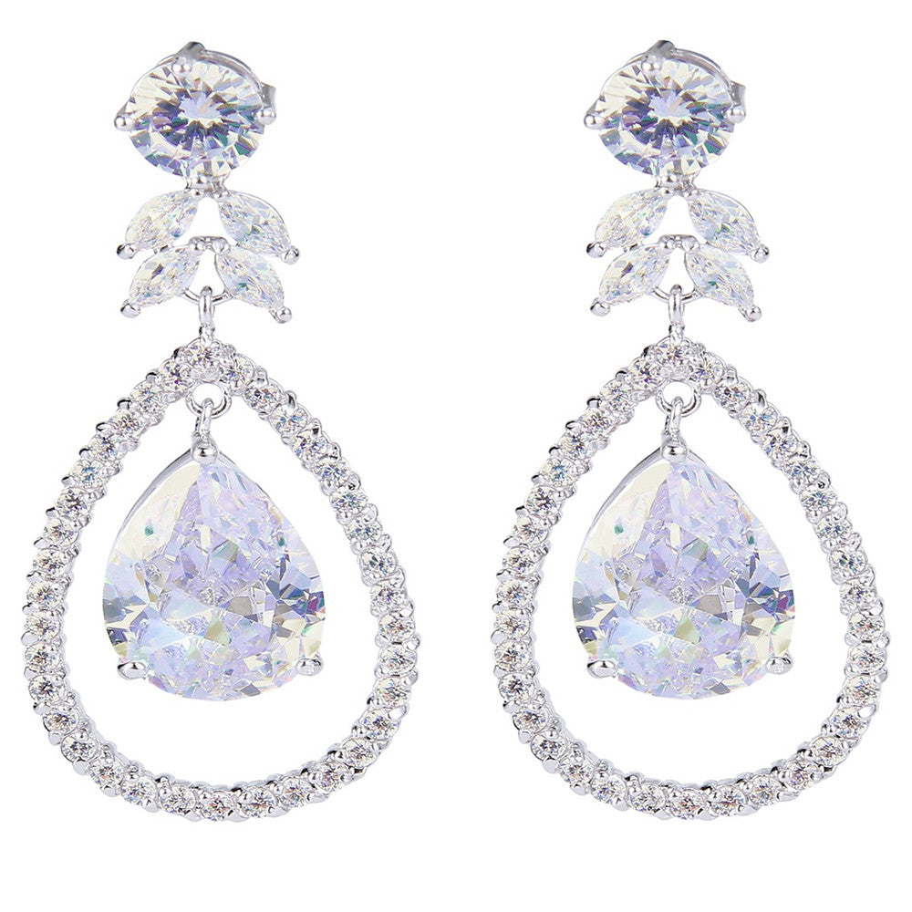 Miley Crystal Halo Drop Earrings - Bella Krystal