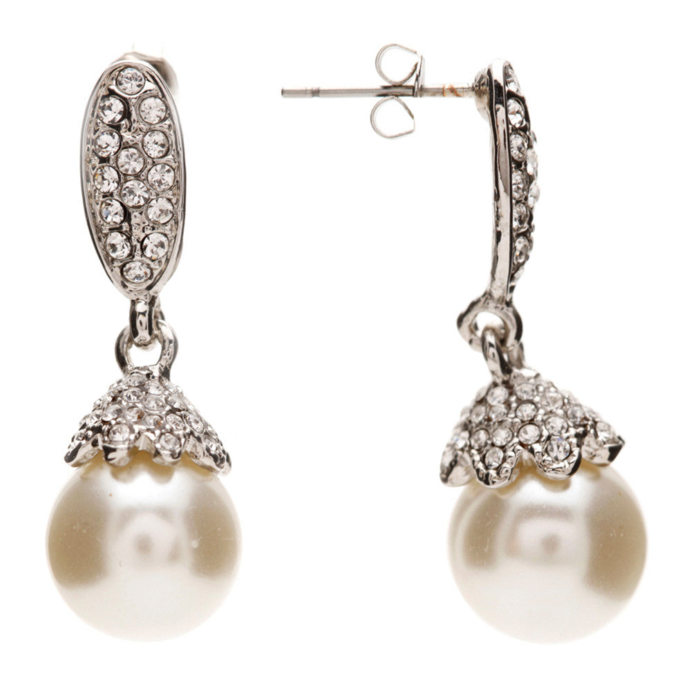 Ashley Elegant Cream Pearl Drop Earrings - Bella Krystal