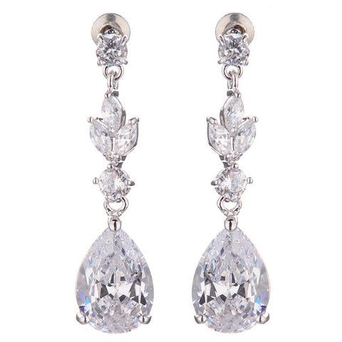 Scarlett Tear Drop Leaf Crystal Earrings - Bella Krystal