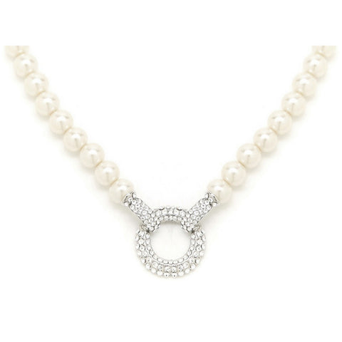 Alana Pearl Necklace with Crystal Hoop - Bella Krystal
