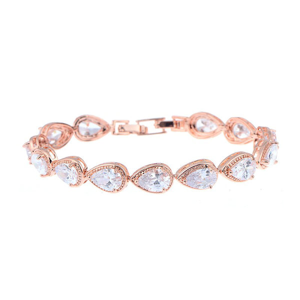Fernanda Pear Cut Crystal & Rose Gold Bracelet